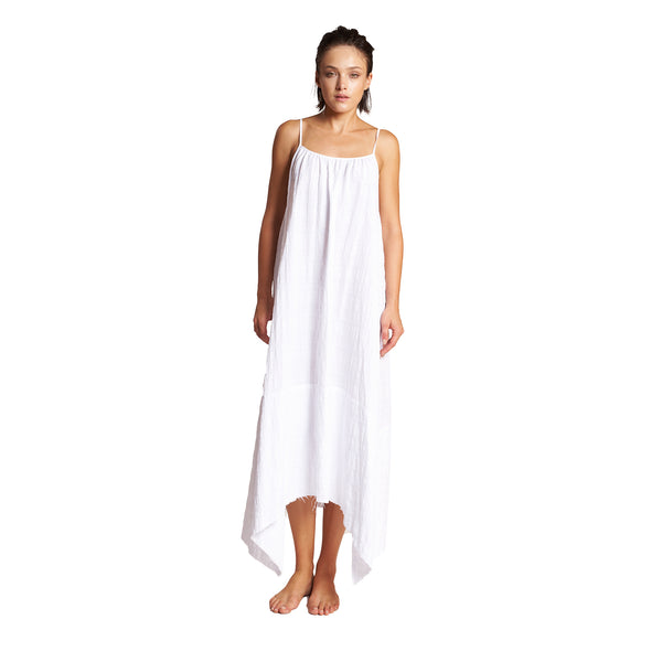 Mazatlan Asymmetrical Linen Dress in White