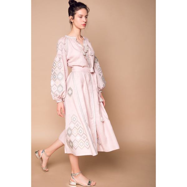 Mosa Midi Dress in Powder Pink