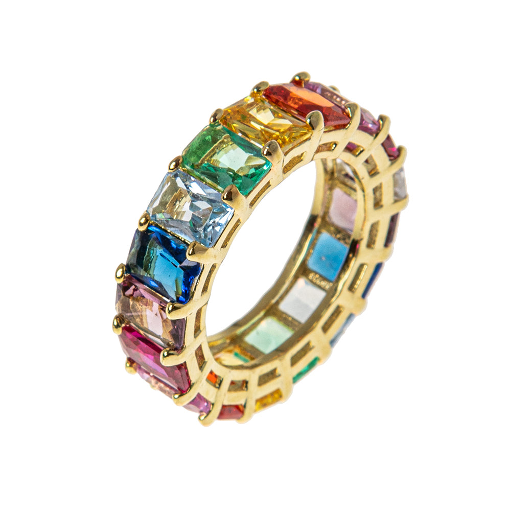 Rainbow Zircon 14k Vermeil Ring