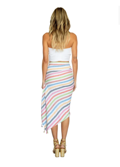 Tulum Linen Skirt in Rainbow