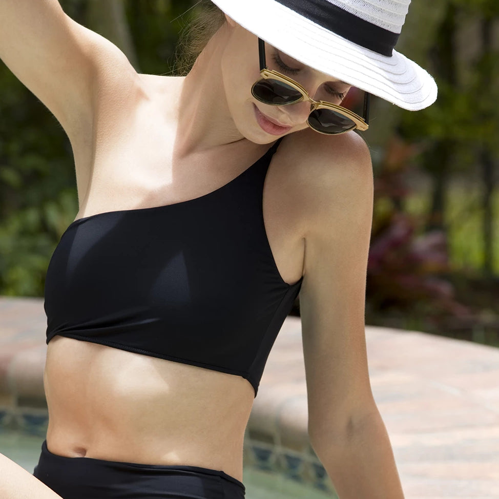 Serena One Shoulder Bikini Top Black