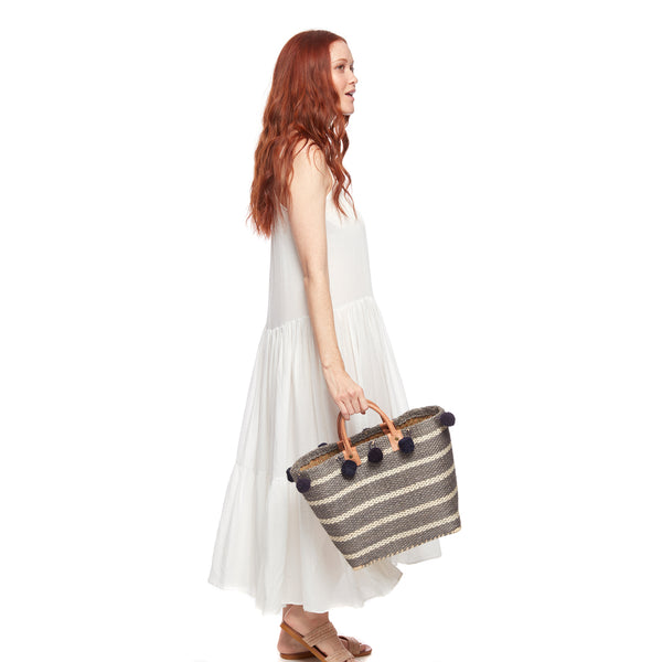 Sola Navy Small Straw Tote Bag