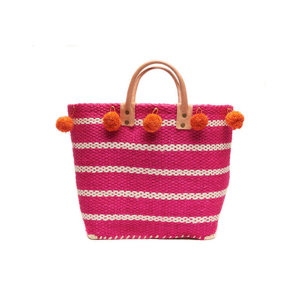Sola Pink Small Straw Tote Bag