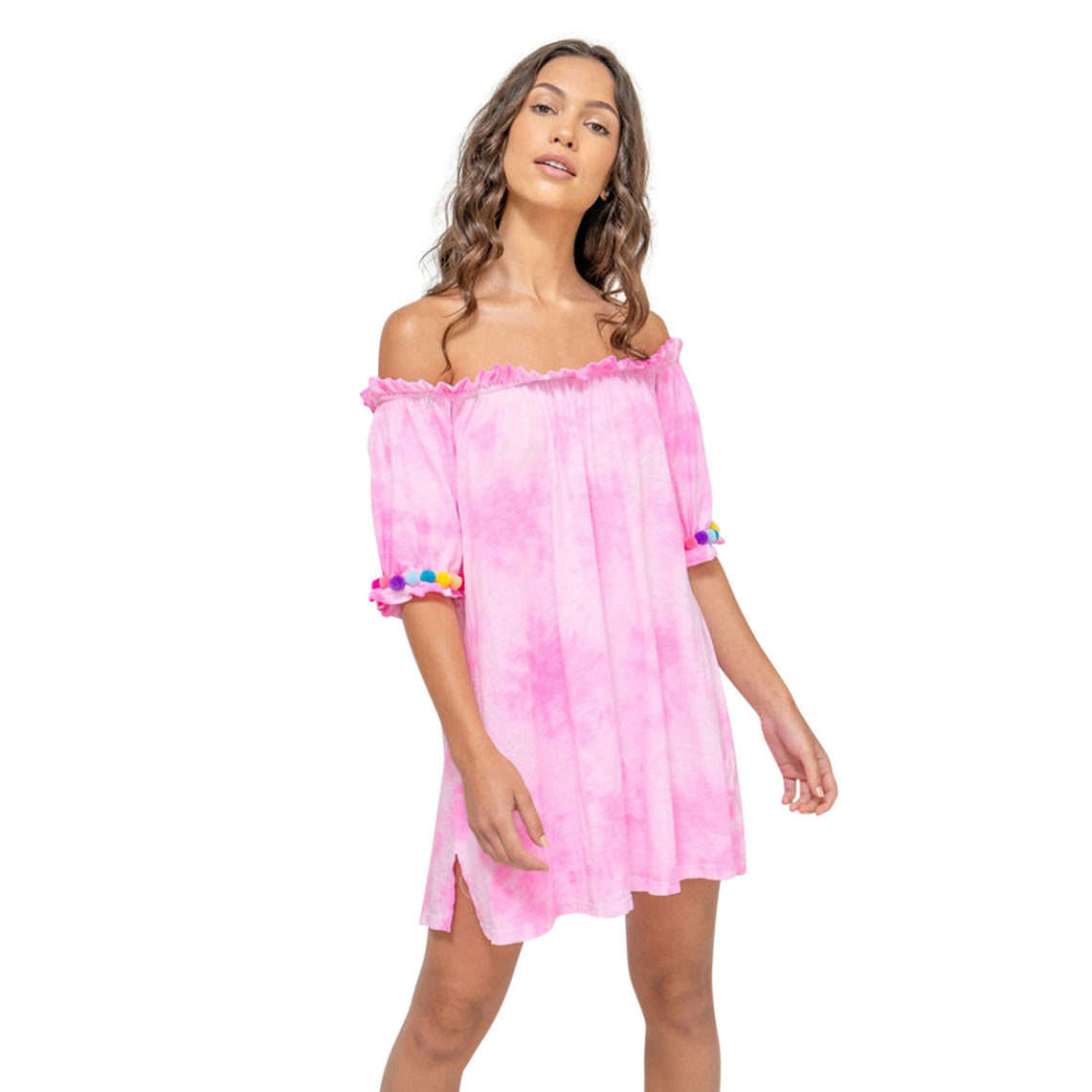 Tie Dye Pom Pom Dress