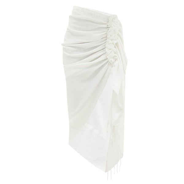 Tulum White Solid Skirt