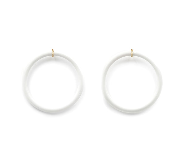 White Onyx Donut Circle Earring