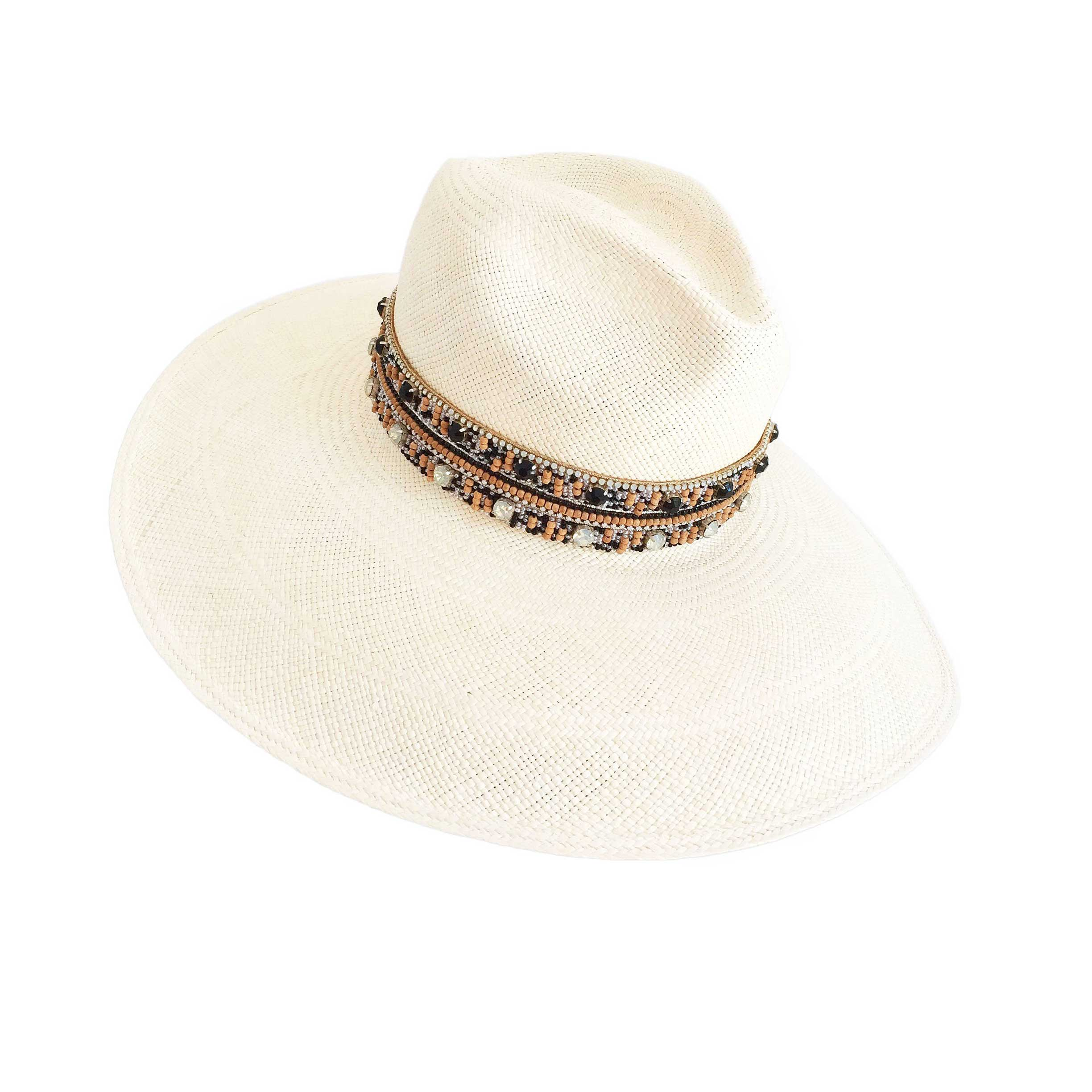 The Paros Black Crystal Panama Hat