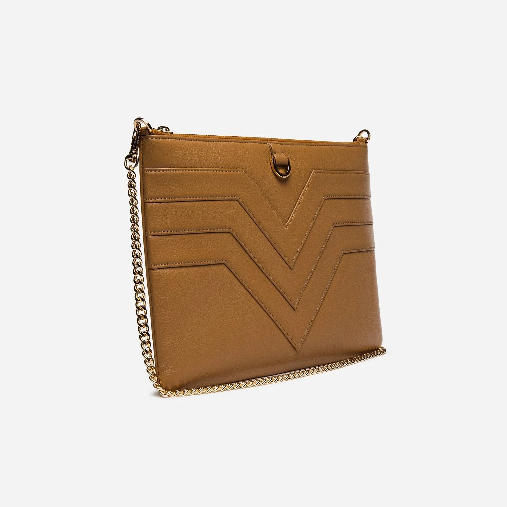 Leather Flat Zip Clutch with Chevron Tan