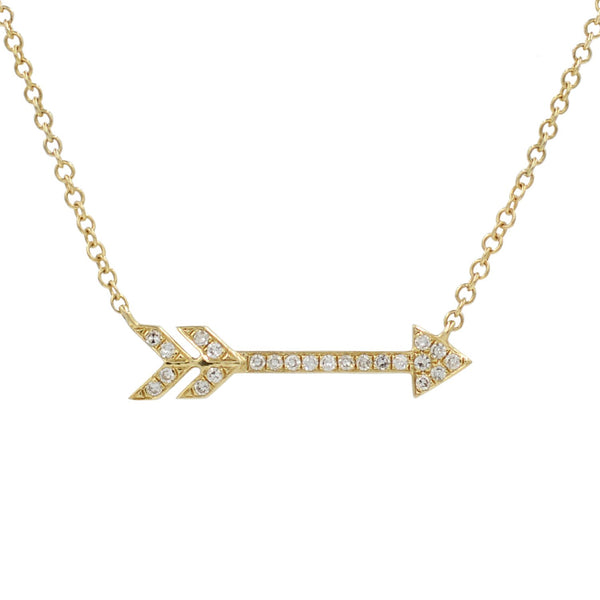 Diamond Arrow Necklace in 14k Gold
