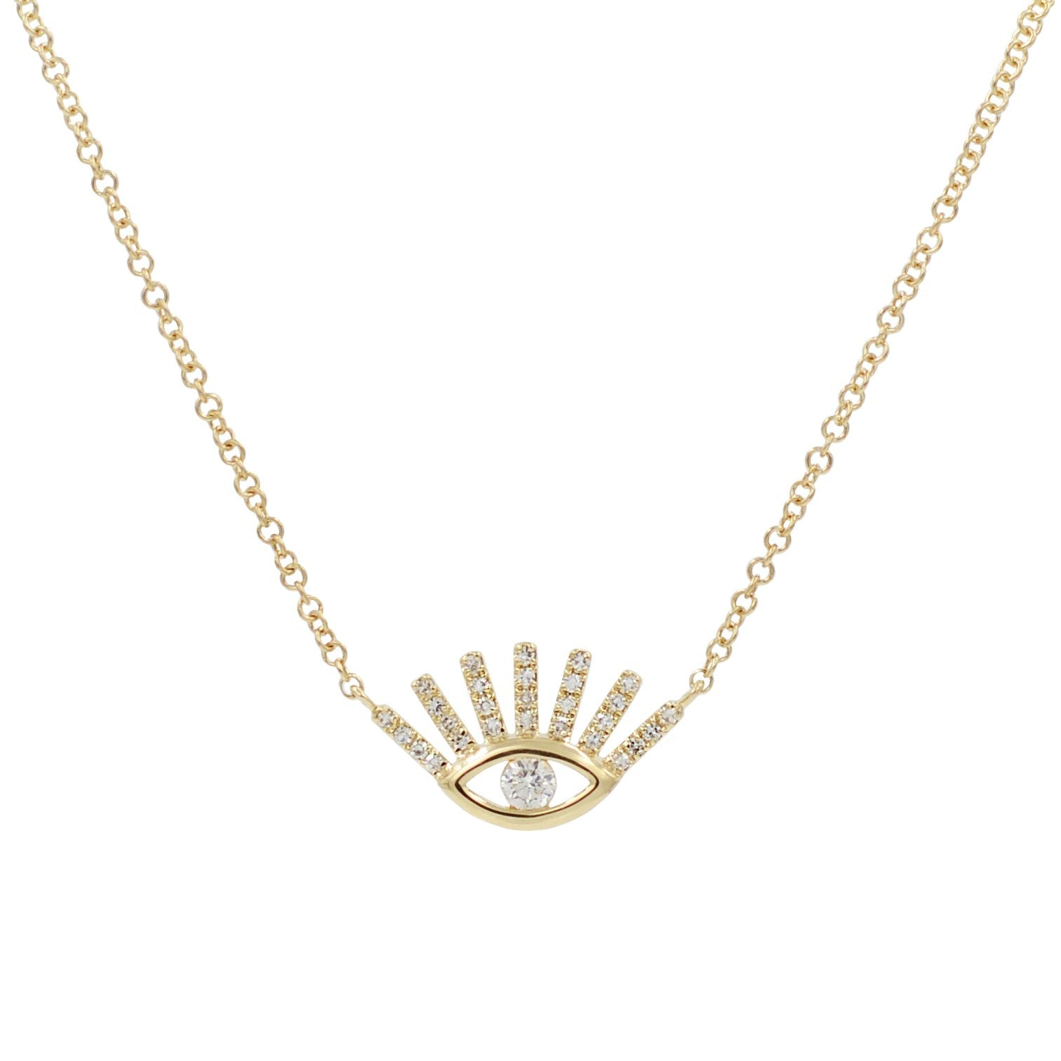 Diamond Evil Eye Necklace With Lashes in 14k Gold