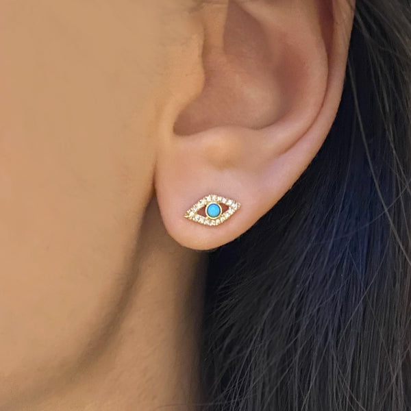 Gold Turquoise Evil Eye Studs