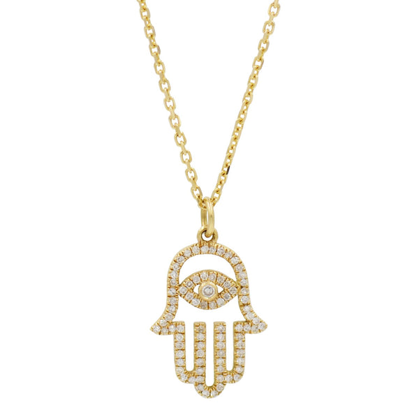 Evil Eye Hamsa Hand Necklace With Diamonds in 14K Gold
