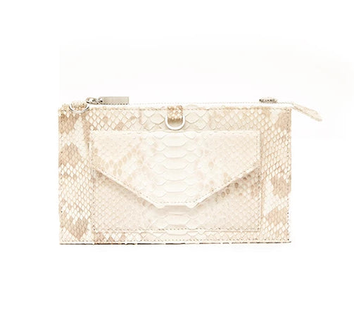 Python Purse Wallet- Bleached Natural Python