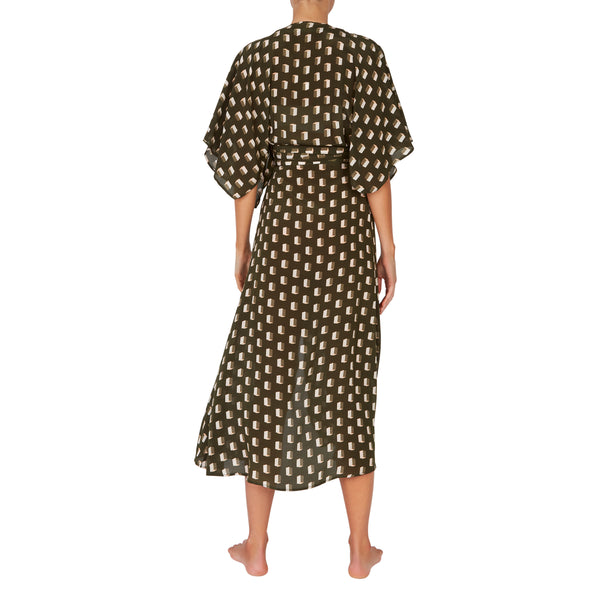 Modica Wrap Dress in Diamond Dot Sage