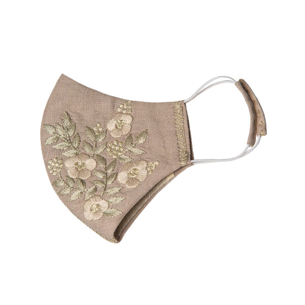 Zoe Embroidered Mask in Beige