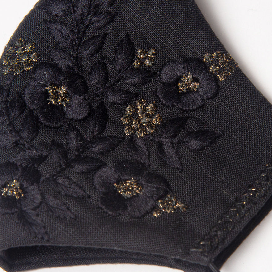 Zoe Embroidered Mask in Black