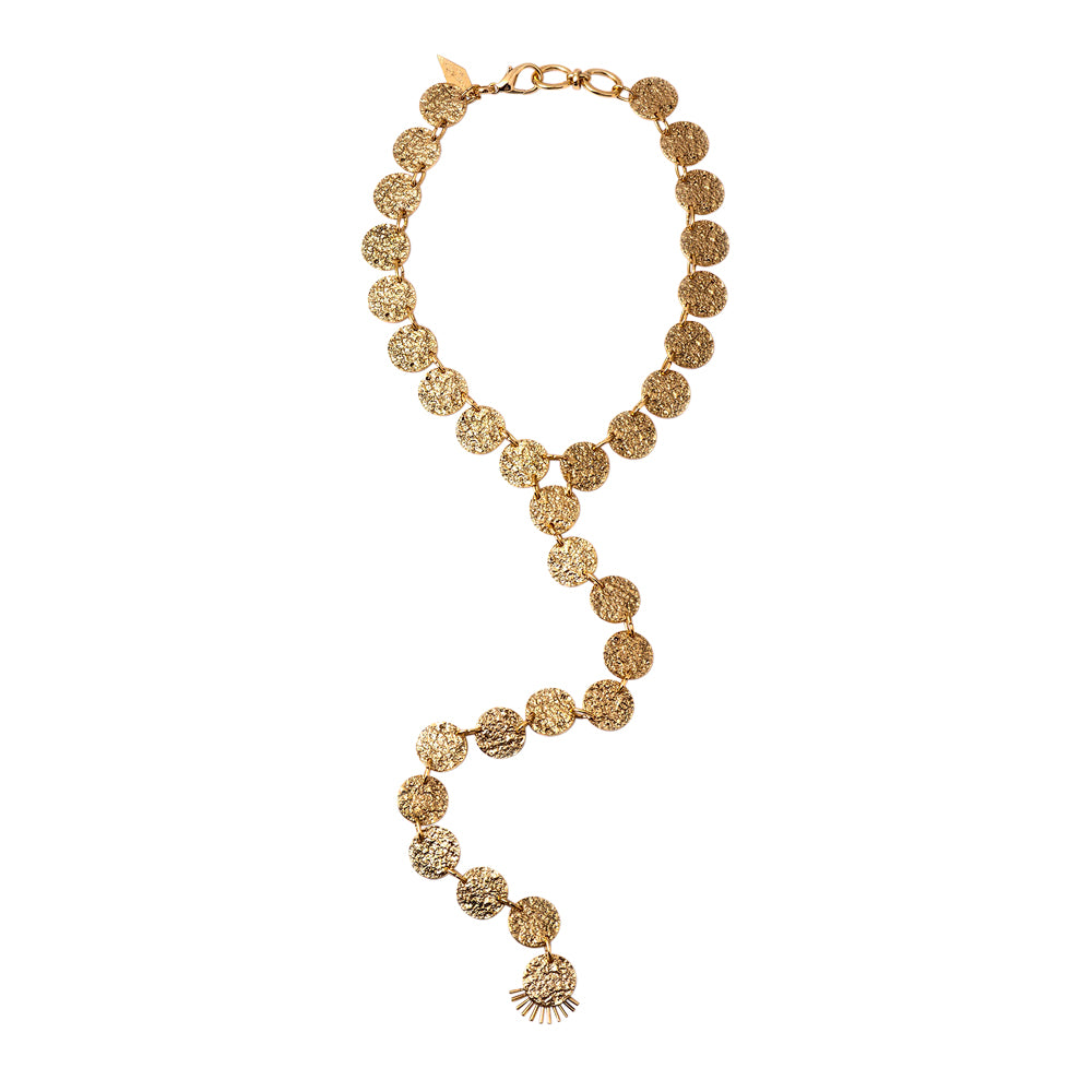 Gold Disc Drop Necklace