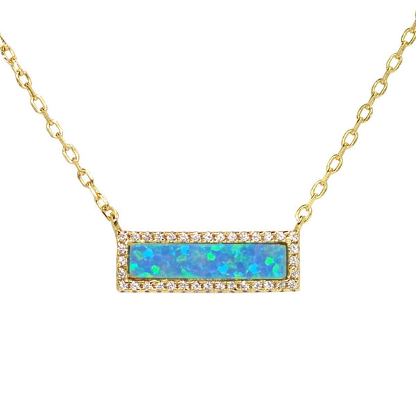 Reflection Opal Rectangle Necklace
