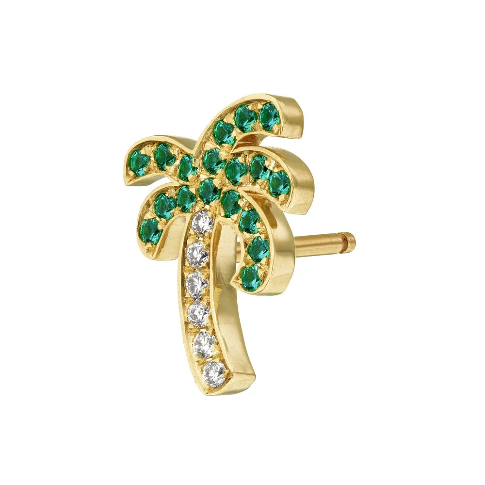 Mini Palm Tree Diamond and Emerald Stud