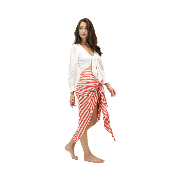Tulum Skirt in Chili/Creme Stripe