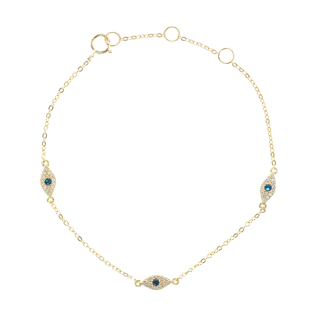Delicate 14K Triple Eye Bracelet