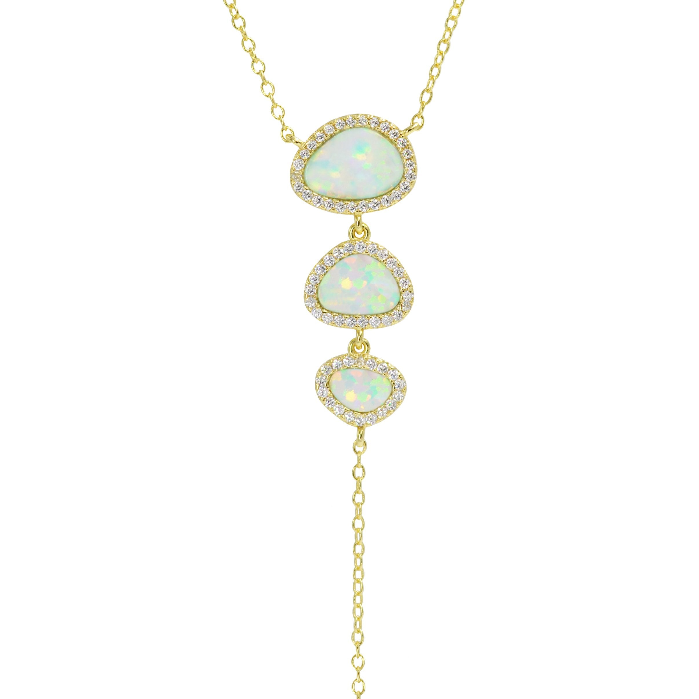 Triple Pebble Opal Necklace