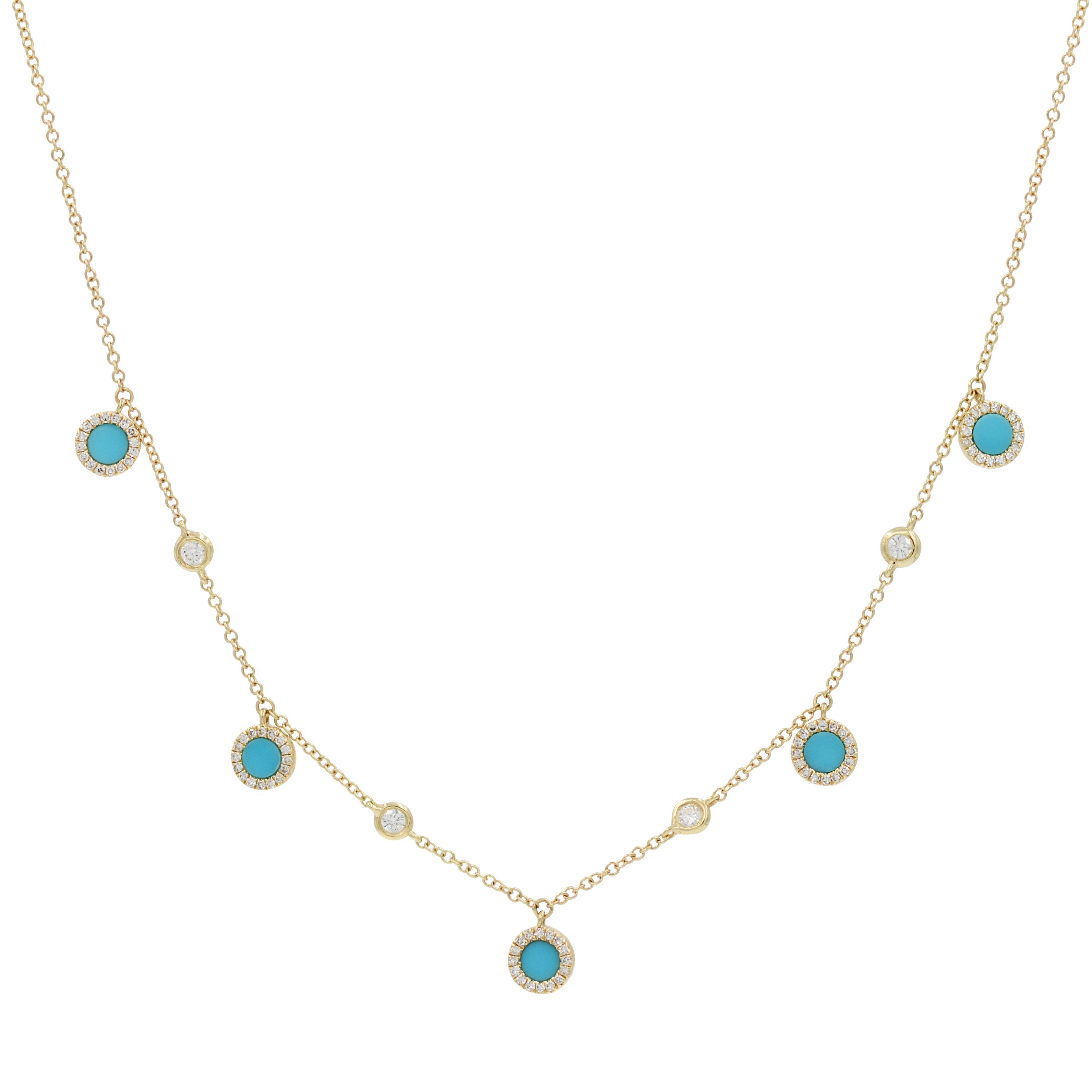 Turquoise Diamond Choker Necklace in 14k Gold
