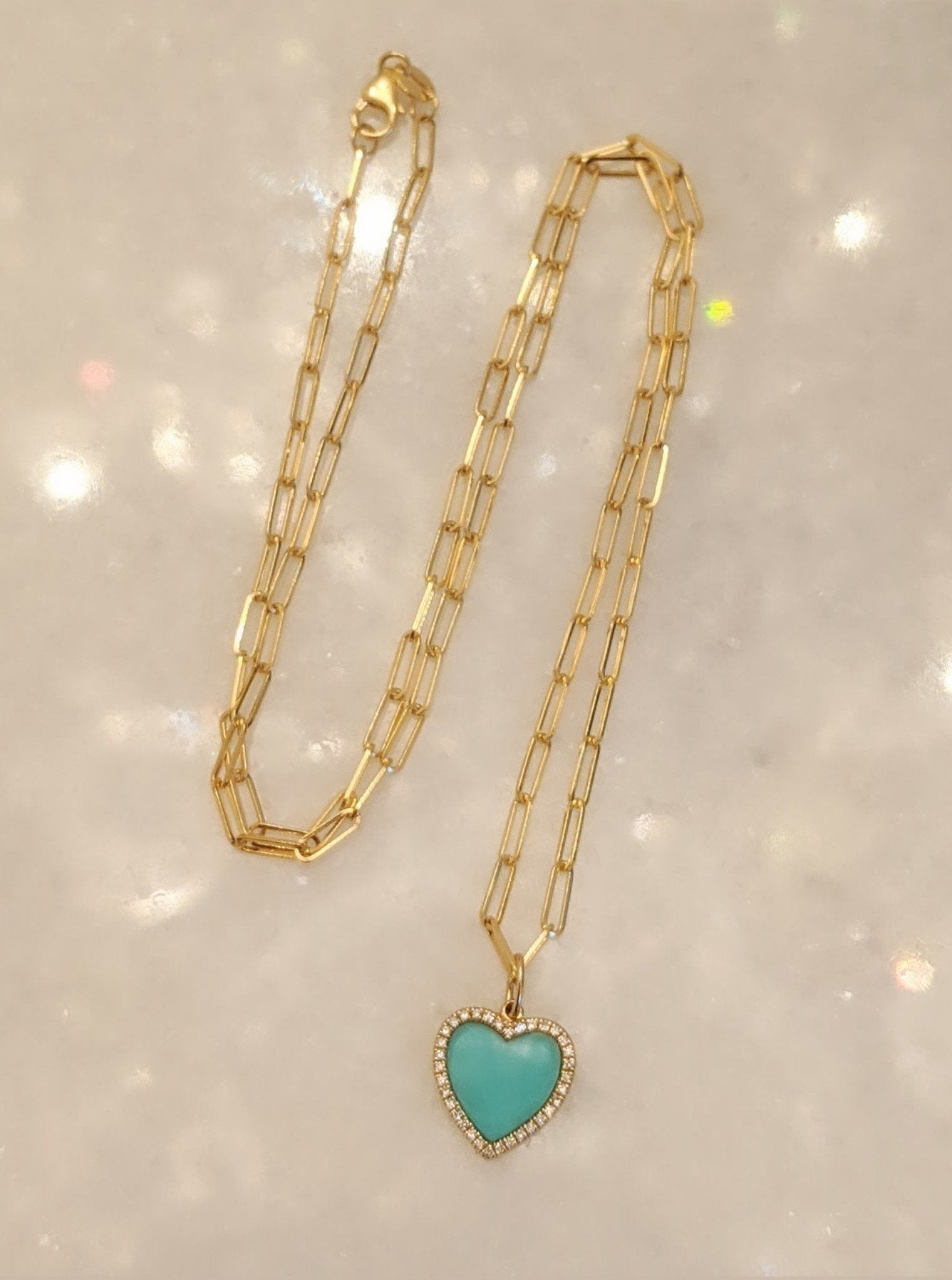 Turquoise Heart Necklace With Diamonds on Paperclip Link Chain 14k