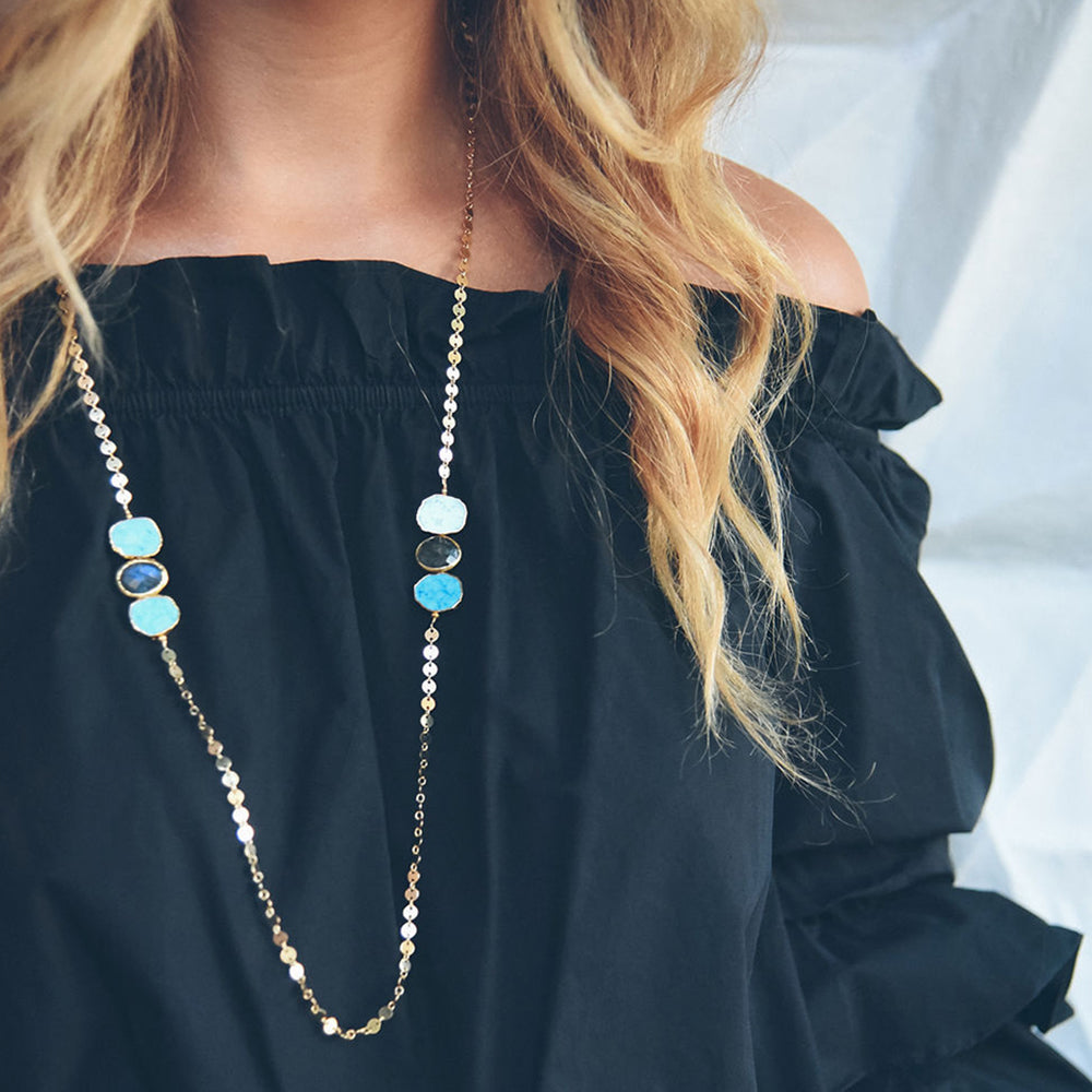 Turquoise Long Gold Necklace