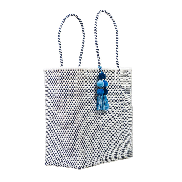 Large Open Woven Blue Tote