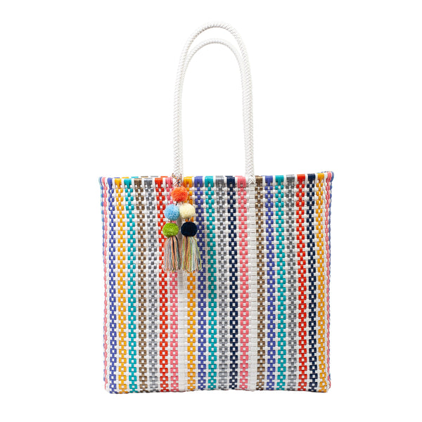 Large Open Woven Rainbow Tote