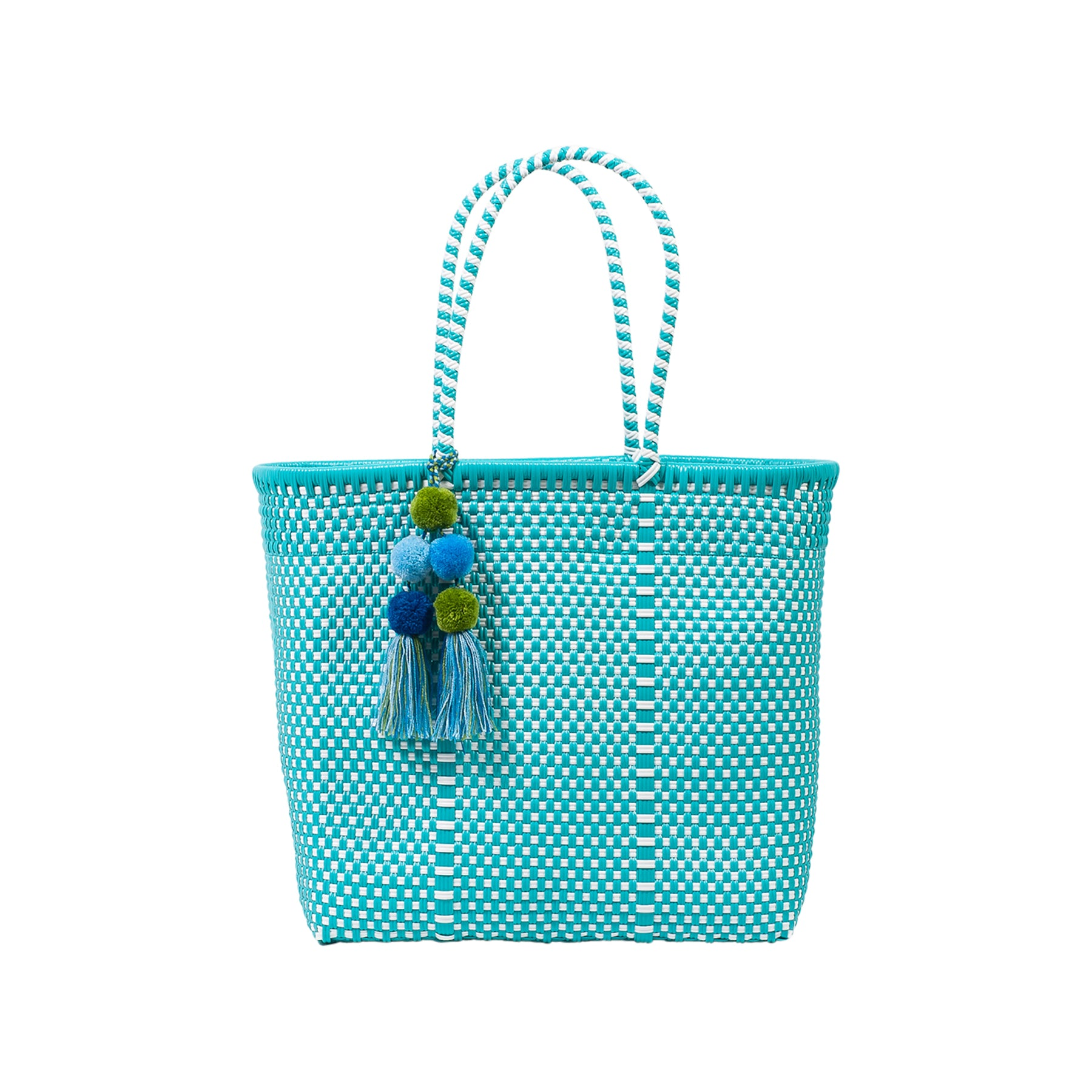 Medium Open Woven Turquoise Tote