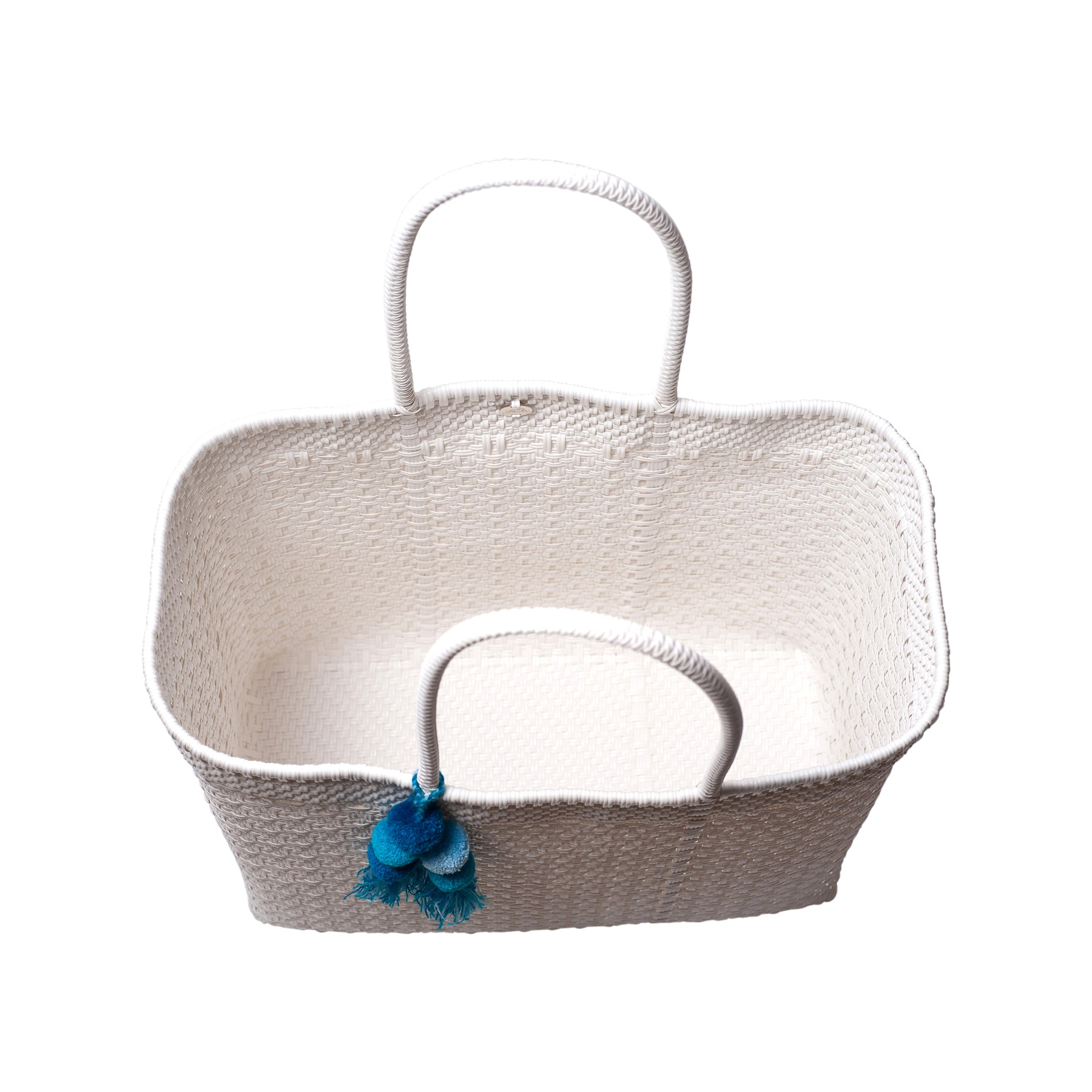 Large Open Woven White Tote