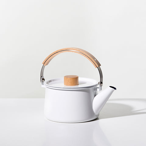 Kaico White Enamel Tea Kettle - Acacia