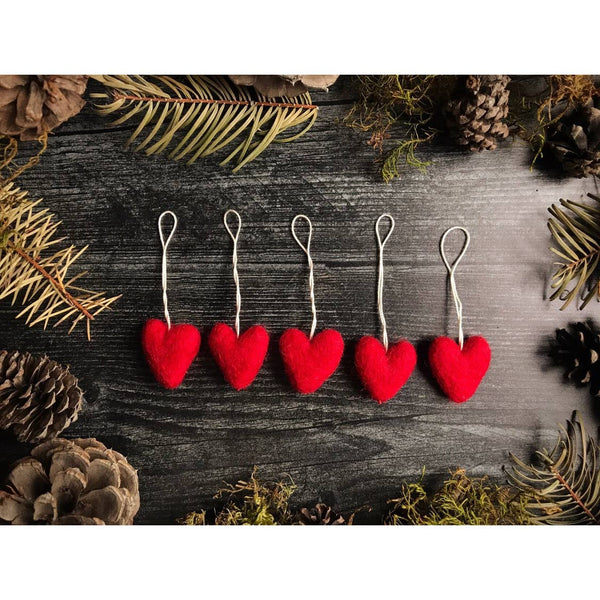 Felted Wool Mini Hearts, Red