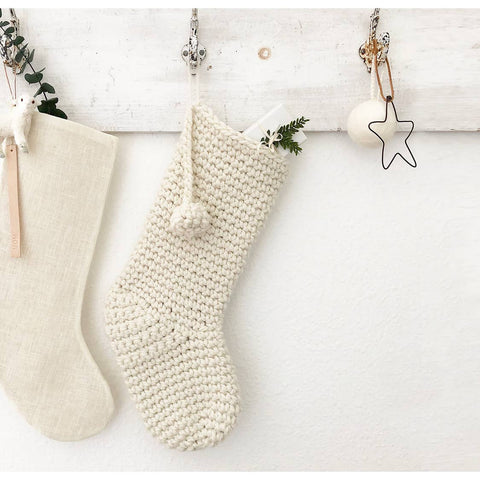 Handknitted Wool Stocking, White