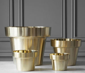 Brushed Brass Flower Pots - Acacia