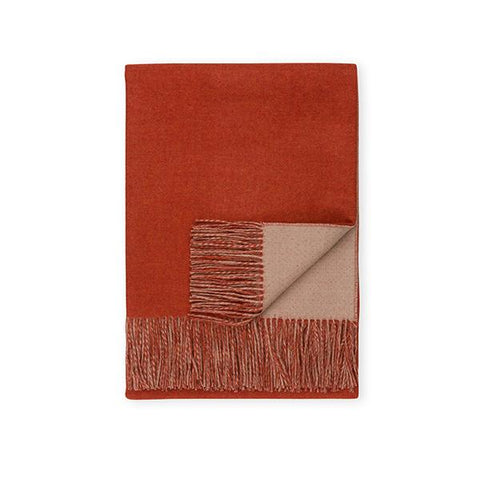 Baby Alpaca Double-Sided Throw, Camel/Orange