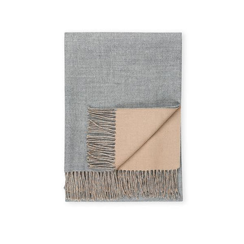 Baby Alpaca Double-Sided Throw, Camel/Heather Grey