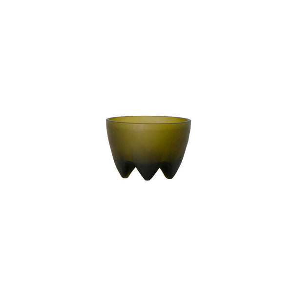 Frosted Glass Footed Bowl - Acacia