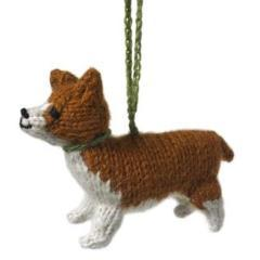 Hand Knit Alpaca Wool Christmas Ornament - Corgi
