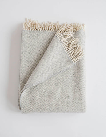 Merino Cashmere Herringbone Throw, Fog
