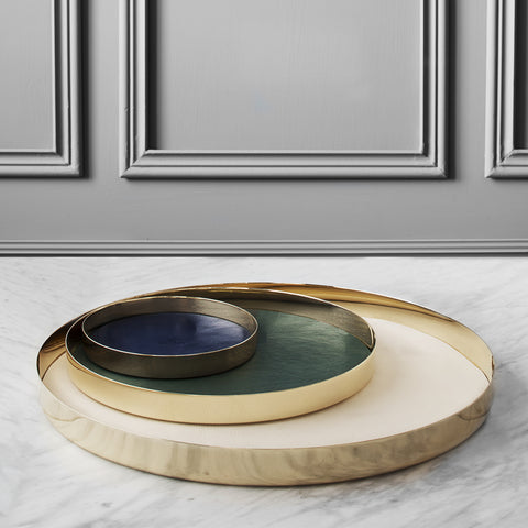 Brass and Leather Trays - Acacia
