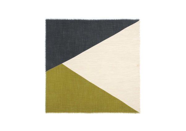 Moismont Wool Scarf, Design 364, Olive Green and Navy
