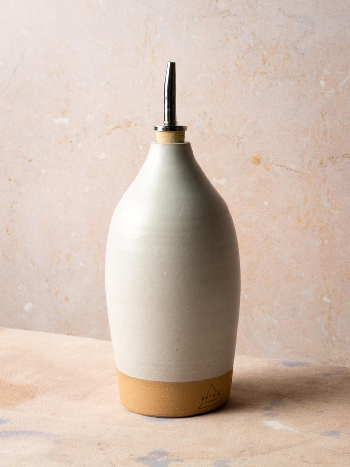 Ceramic Tall Oil Bottle, Matte White