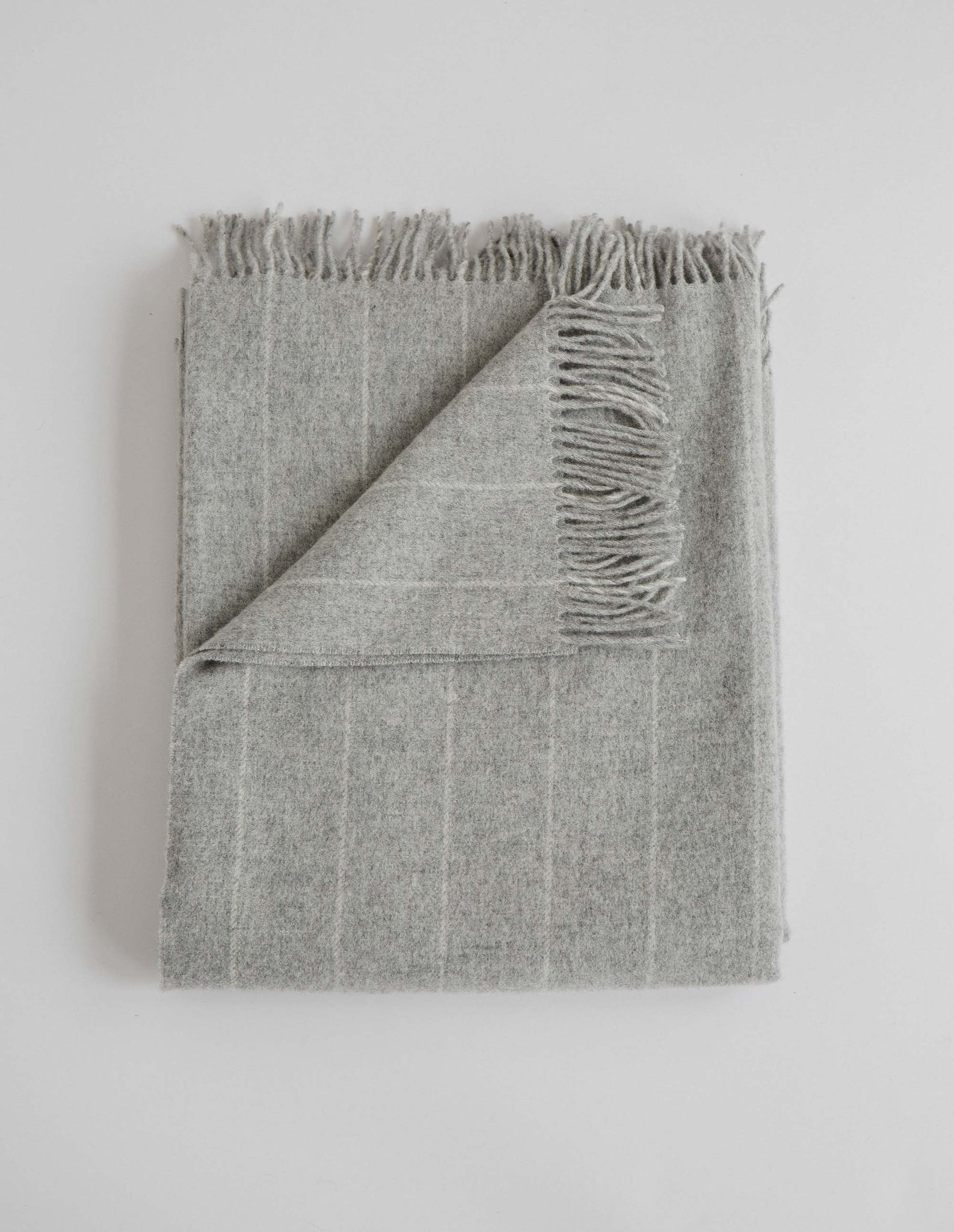 Grey Pinstripe Merino Lambswool Throw