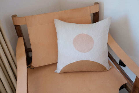 Rising Moon Block Printed Pillow - Acacia