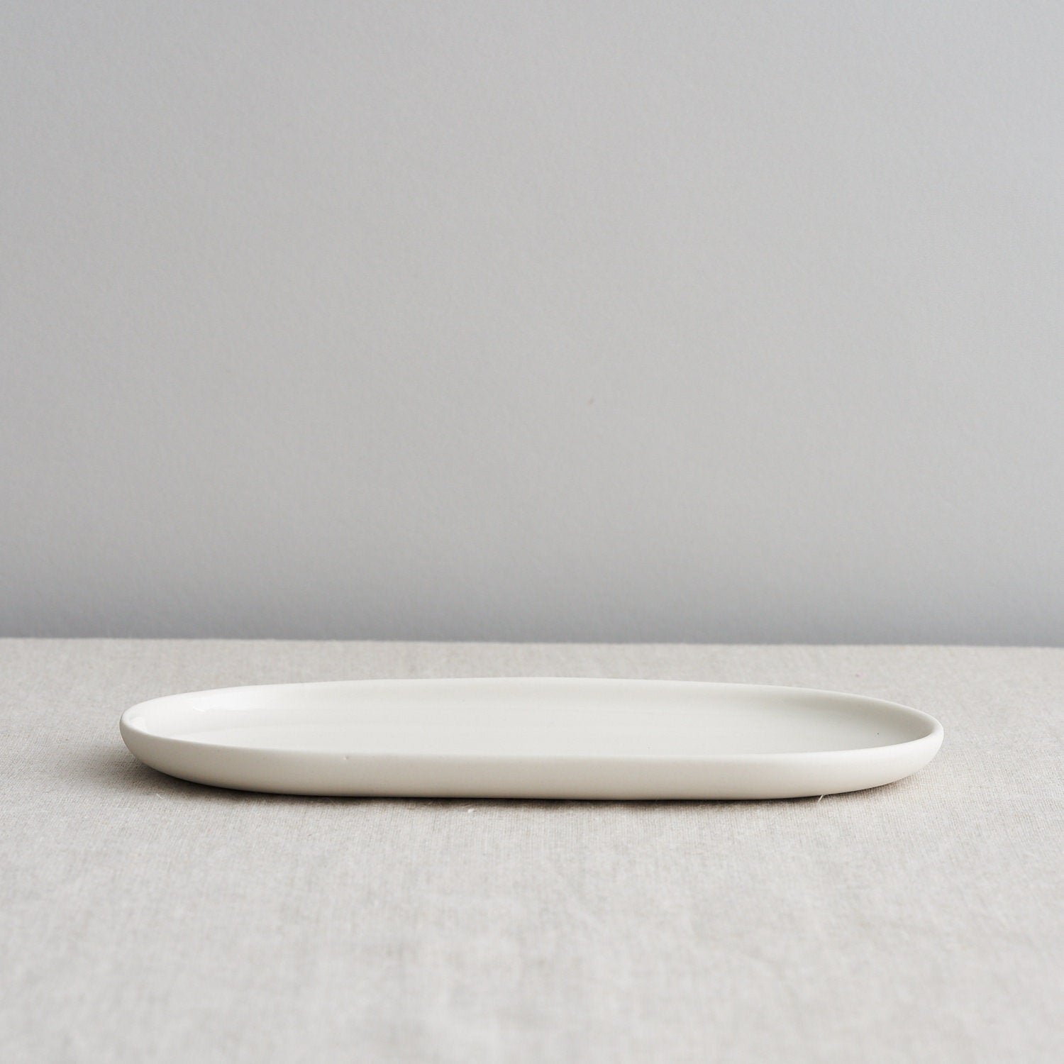 Mr & Mrs Oval Side Plate, Pale Stone