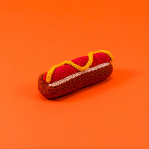 Hand Knit Hot Dog