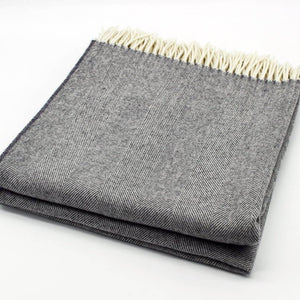 Merino Wool Bed Throw, Heather Grey